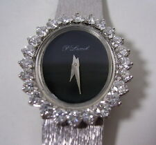 SUPERBE MONTRE BIJOUX OR GRIS 24 DIAMANTS ANCIENNE DE COLLECTION VERS 1950