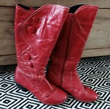 Stunning red leather below knee boots with button detail by Stegmann, Sz 38, EUC