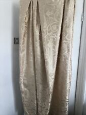 """Gold Champagne Damask Curtains & Ties  66"""" W X 72"""" L Pencil Pleat Lined"""