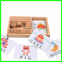 Wood Spelling Words Game Learning Toy Children Baby Kids Early Educational