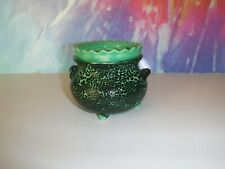 Small Green And Black Cauldron Pot African Violet Ceramic Pot/Planter