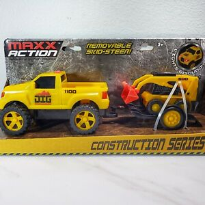 Maxx Action Construction Series Truck With Skid Steer,  Lights + Sounds, 3+