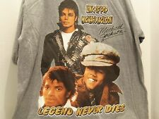 MICHAEL JACKSON KING OF POP LEGEND NEVER DIES GOLD GLITTER T-SHIRT(2XL)GRAY-RARE