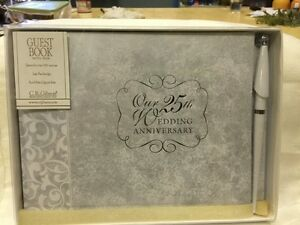 CR Gibson 25th Anniversary Guest Gift Book Silver with pen New in Box