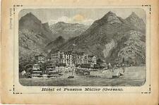 Stampa antica GERSAU Hotel Muller Lago di Lucerna 1892 Old antique print