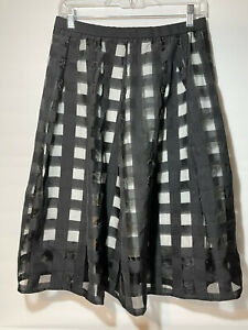 NY Collection Checked Pleated Skirt, Size 6 Black