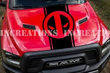 Deadpool Dodge Chevy Pickup Hood Stripe Truck Decal Car Sticker Set of 2 Racing
