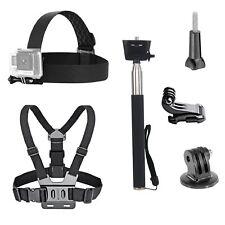 Go Pro Accessories Kit Head Strap Chest Belt Selfie Stick Monopod Gopro Cam Set