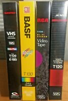 New VHS Tapes Blank Media Lot x4 Mixed Brands Sealed/Unopened 6 Hrs Each Vintage