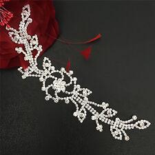 Wedding Applique Rhinestone Bridal Dancing Dress Diamante Trim Costume DIY Motif
