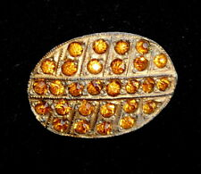 Vintage Impressive Art Deco Era Golden Citrine Glass Rhinestone Pot Metal Brooch