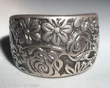 Retired Size 9 SILPADA Sterling Silver Oxidized Engraved Floral Cuff Ring R1583