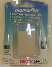 Digipower BP-NKL8 Rechargeable Battery for Nikon EN-EL8 IE 528 COOLPIX FREE SHIP