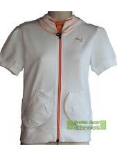 Puma Womens White & Orange Hooded Fitness Training Top Small 10 Free UK Ship New