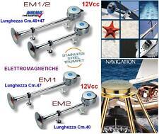 PAIR TRUMPETS MARINE Cm.40+47 ELECTROMAGNETIC 12V 121dB boat and CAMPER EM1/2