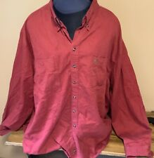 Great Land 3XL 100% Cotton Red Long Sleeve Button Up Shirt
