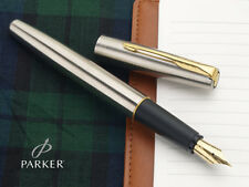 Parker Frontier SS Stainless Steel GT Gold Trim Ink Fountain Pen with Converter