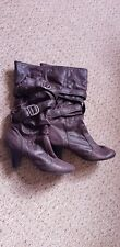 New Look Burgundy Deep Purple Boots size 3 faux suede look buckle belt detail