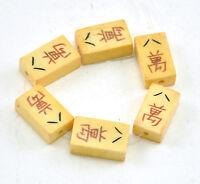 6 x Vintage Oriental Majohn Bone Carved Loose Bead Disc Hand Carved Mahjong Tile