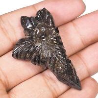 56.90 Cts Natural Black Matrix Opal Leaf Certified Magnificent Carved Gemstone