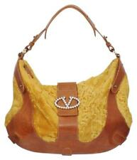 Valentino Purse Hobo Large Pearl Accent fixture Brown Gold Persian Broadtail Fur