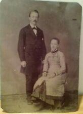 Vintage Tin Type Photo Man & Woman Couple