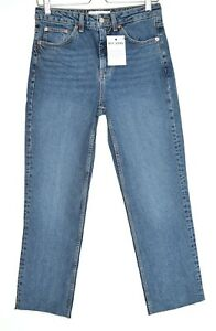 Topshop High Rise STRAIGHT LEG Medium Blue Raw Hem Cropped Jeans 14 W32 L30
