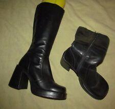 Vintage 90s  00s STEVE MADDEN Black leather knee high Platform boots BOXER 8.5 B