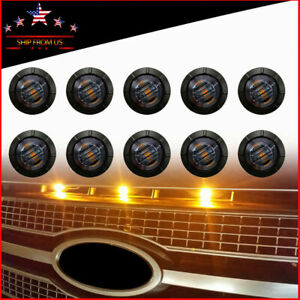 10 x Universal Round Smoked Lens Front Bumper Grill Grille Amber LED Lights