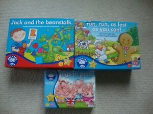 Orchard Toys games bundle x 3 - Pigs in Pants, Gingerbread Man, Jack & Beanstalk