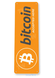 Bitcoin BTC Cryptocurrency Sign Accepted Here Metal Tin Sign Decor D170