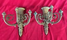 2 Antique Cast Metal Wall Sconce Empire Heavy