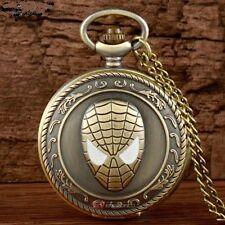 Spiderman Super Hero Bronze Quartz Pocket Watch Necklace Pendant - Gift Idea