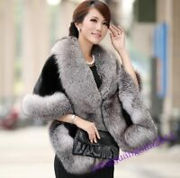 Womens Winter Poncho Faux Fur Coat Overcoat Jacket Outerwear Cloak Cape Outwear