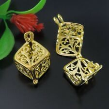 6PCSVintage Gold Tone Brass Hollow Cube Charm Pendant Locket Prayer Box25*13*3mm