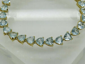 Trillion Cut 20.00 CT Aquamarine & Diamond Tennis Bracelet 14K Yellow Gold Over