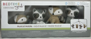 Bedtime Originals Little Rascals Gray Raccoon and Fox Musical Baby Crib Mobile