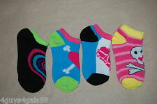 Girls Socks 4 Pair Lot Multi Color Stripes Skulls Fits Shoe Size 7-3