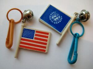 RETRO 1980's Plastic FLAG Bell Clip On 80's Necklace Charms UNITED NATIONS~USA