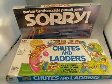 Vintage (72) SORRY! Board Game PARKER BROS -NEW UNOPENED & Chutes and Ladders 78