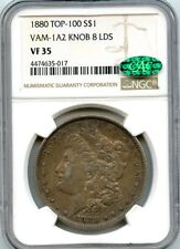 C8653- 1880 VAM-1A2 KNOB 8 LDS TOP 100 MORGAN DOLLAR NGC VF35 CAC