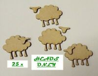 Pack of 25 HEADS MDF Sheep heads ONLY for embellishing your project #01a