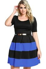 Plus Size Clothing 5X Striped A-Line Skater Boutique Dress SEXY Women's Sz 18 20