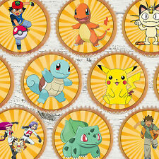 24 x PRE CUT Pokemon Originals Inc Pikachu Edible Wafer Paper Cupcake Toppers