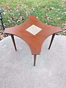 60s Mid Century Danish Modern Tile Coffee Side Walnut Table Harris Strong Era