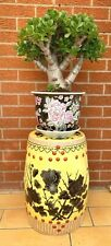 More details for chinese oriental porcelain  stool plant stand side table 19.5 ins tall