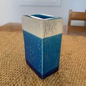 Bitossi Blue VASE Mid century Modernist rectangle shape
