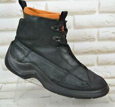 HUGO BOSS Mens Black Leather Designer Lace-Up Ankle Boots Italy 8 UK 42 EU
