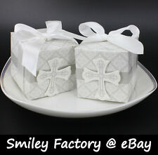50pcs White Cross Design Wedding Favor Box Boxes & Ribbon Birthday Party Banquet