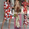 UK Womens Plunge Holiday Dress Ladies Summer Paisley Split Maxi Dress Size 6-16